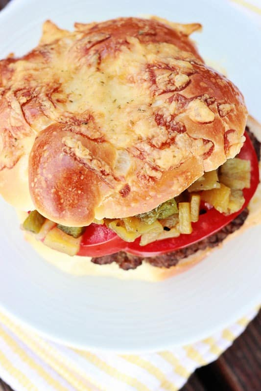cheesy stuffed burgers with roasted hatch chile relish dinner