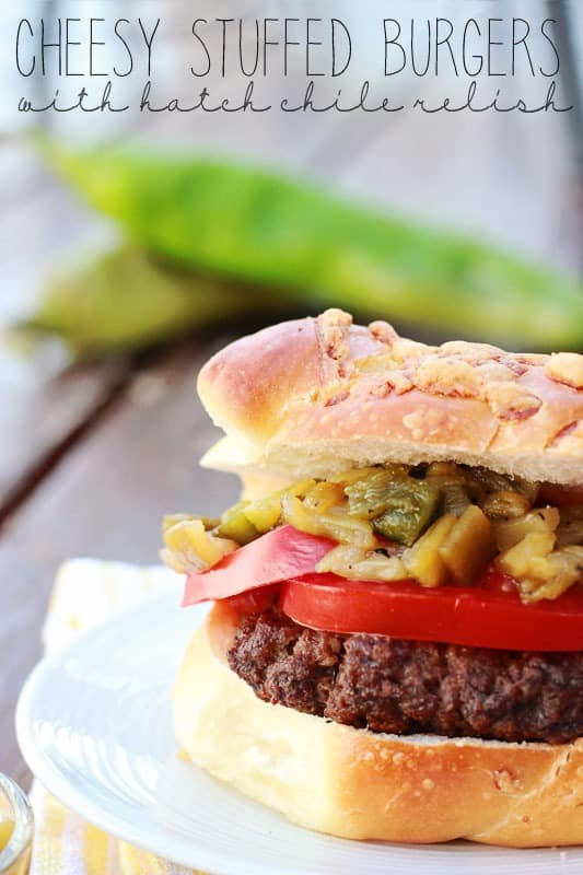 cheesy stuffed burgers with hatch chile relish recipe