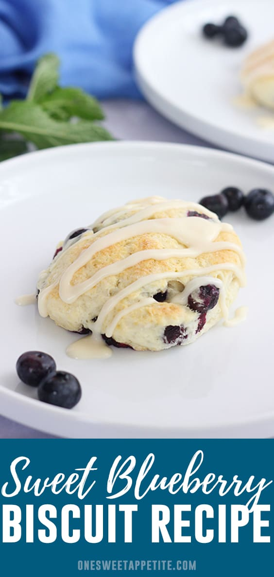 These sweet blueberry biscuits are only 5 simple ingredients and take less than 30 minutes to make! Topped with a vanilla glaze and best served warm.