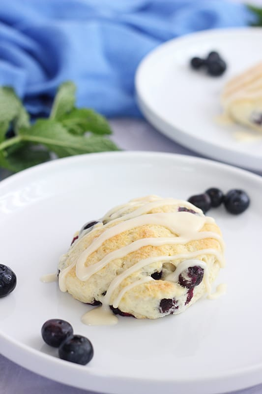 blueberry biscuit with vanilla glaze on white plate
