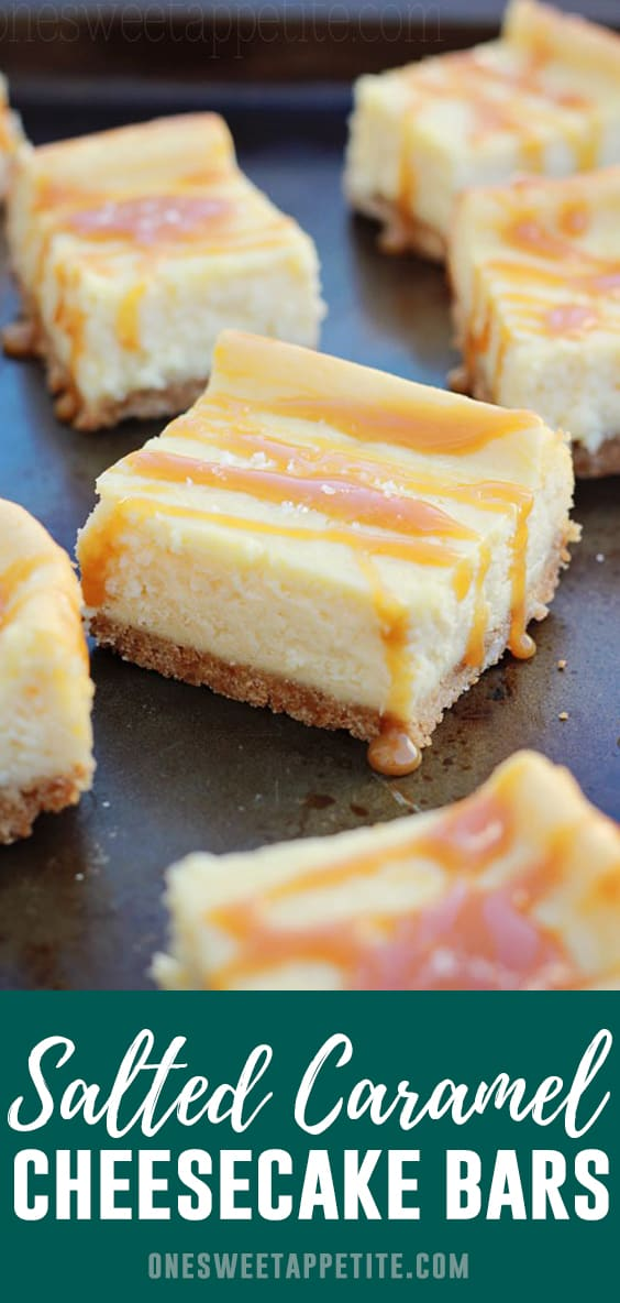 Salted Caramel Cheesecake Bars - Creamy cheesecake bars with a buttery graham cracker crust and topped with salted caramel sauce ... This is the perfect Cheesecake Bars Recipe!