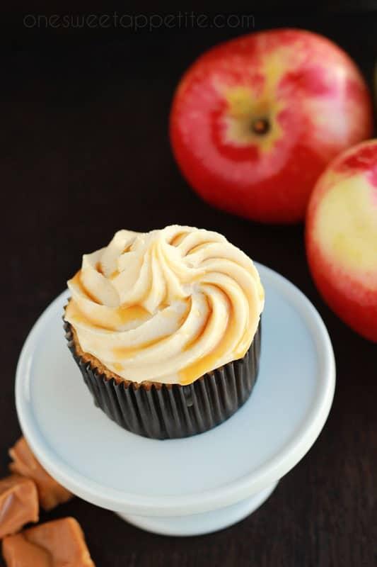caramel apple cupcake with salted caramel buttercream