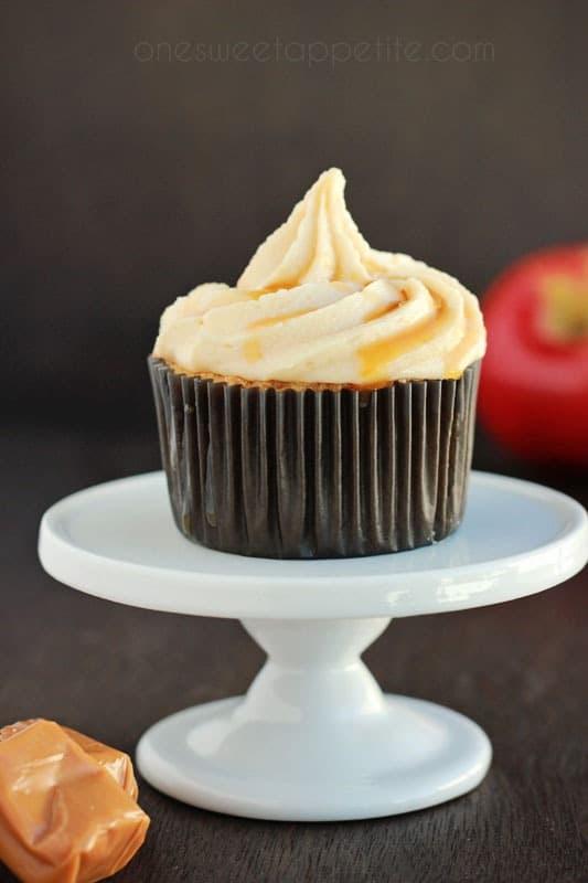salted caramel buttercream on an apple cupcake