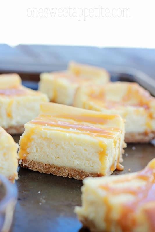 salted caramel cheesecake bars easy recipe