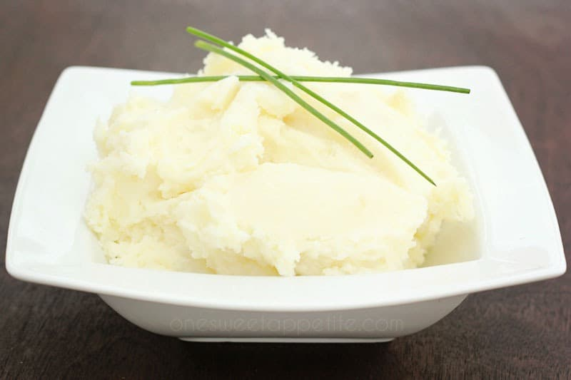 Easy mashed potatoes in a white serving dish