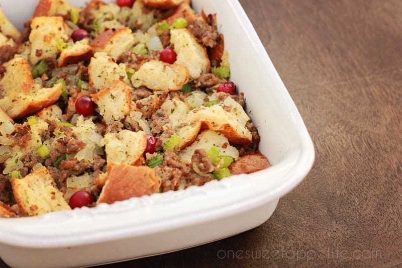 Sausage And Herb Stuffing - One Sweet Appetite