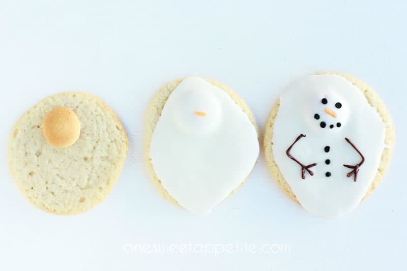 melted snowman cookies step by step