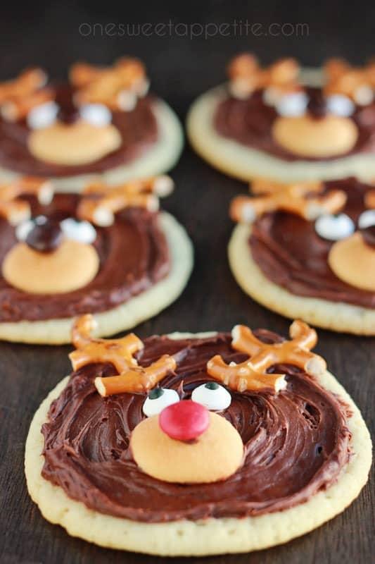 50. Reindeer Sugar Cookies | One Sweet Appetite (featured in collage)