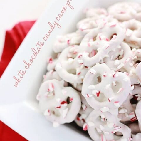White chocolate candy cane pretzels