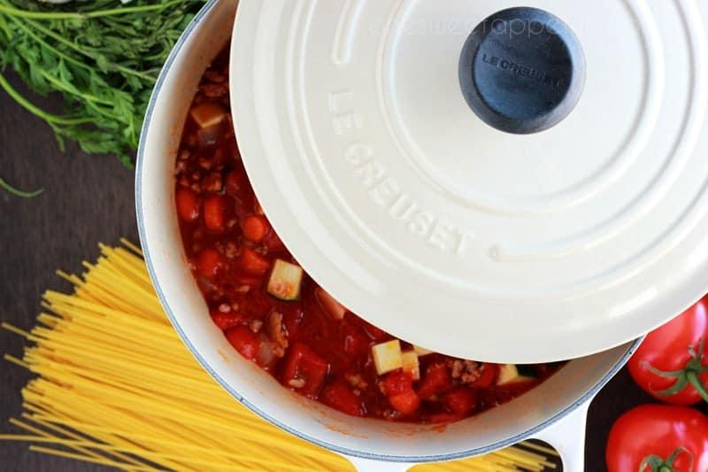 veggie packed pasta sauce veggies Le Creuset