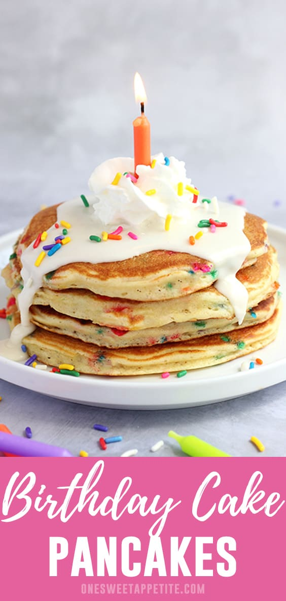 What better way to celebrate than a batch of Birthday Cake Pancakes? Fluffy cake batter pancakes are topped with a sweet icing and so many sprinkles!