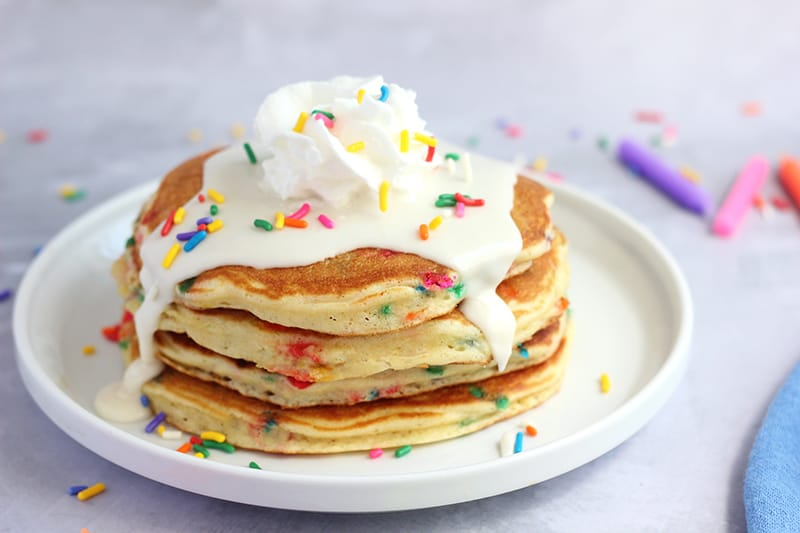 Magnificent Birthday Cake Pancakes Recipe Funfetti Pancakes One Sweet Appetite Personalised Birthday Cards Veneteletsinfo