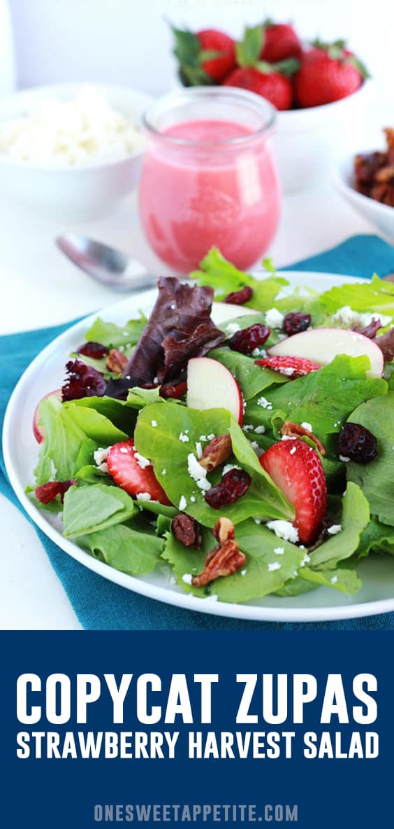 This tasty salad recipe is inspired by the Strawberry Harvest Salad at Zupa's! Filled with berries, candied pecans, apples, and topped with a sweet strawberry champagne vinaigrette!