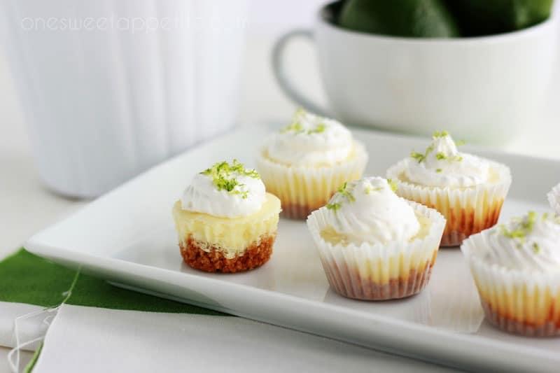 Mini Key Lime Cheesecakes on a white plate
