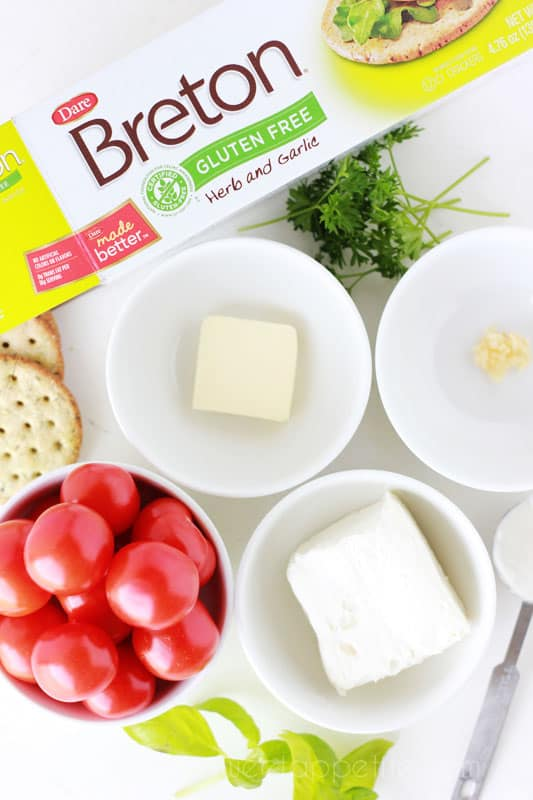 Herb Cheese Spread with tomato and basil - One Sweet Appetite