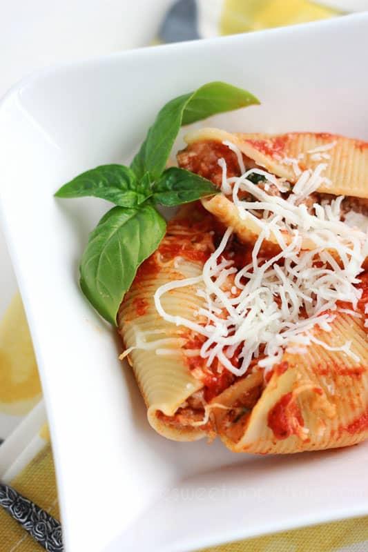 Lasagna Stuffed Shells Recipe on One Sweet Appetite