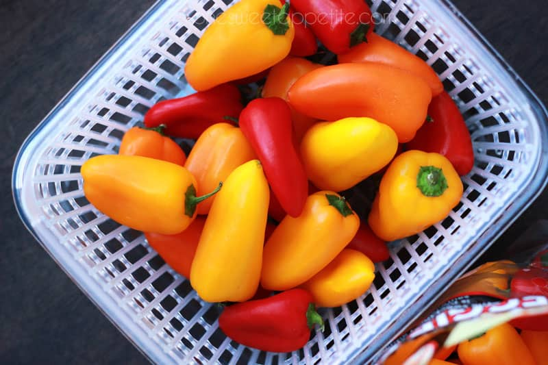 sweet peppers with OXO container