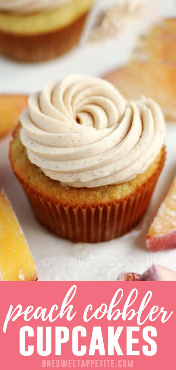 These homemade peach cupcakes are filled with a sweet peach curd and topped with cinnamon frosting - making it the perfect peach cobbler cupcake recipe!