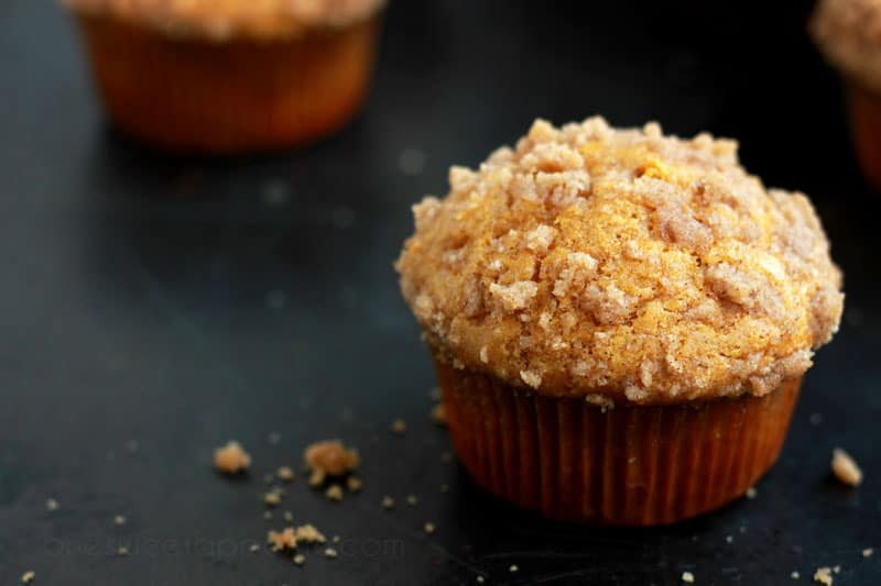 pumpkin streusel muffins on one sweet appetite