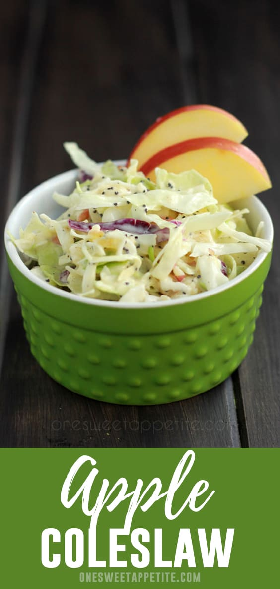 This Apple Coleslaw is the perfect fall side dish or topping to a sweet pulled pork sandwich!