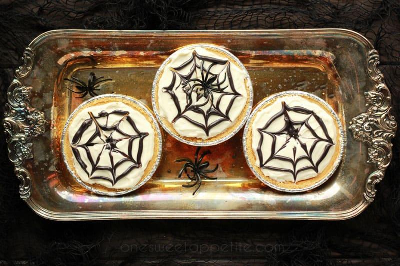 ... no bake spiderweb cheesecakes these mini no bake spiderweb cheesecakes