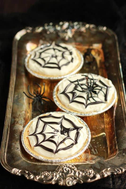 No-Bake Spiderweb Cheesecakes