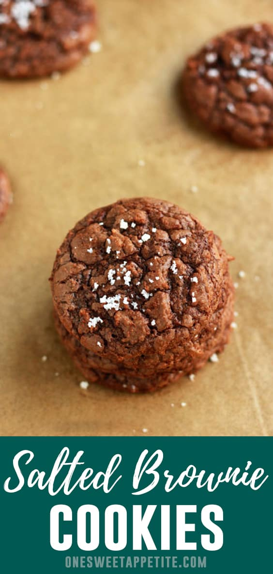 These saltedbrownie cookies are my go-to when I'm in need of a chocolate fix! Crunchy outside with a soft and chewy center gives you the perfect brownie texture in every single bite!