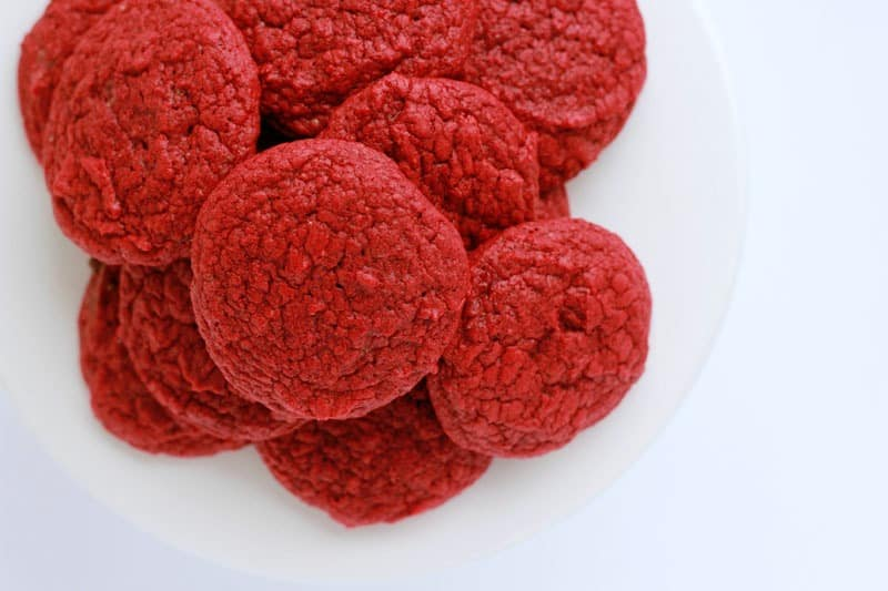 Red Velvet Cake Mix Cookies on a Tray