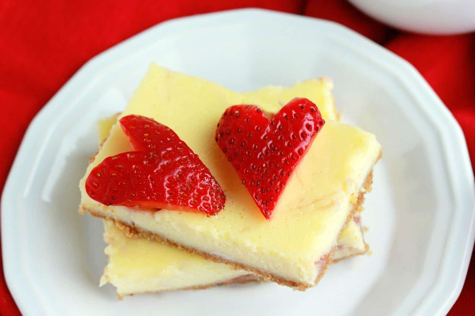 Strawberry Cheesecake Bars on One Sweet Appetite