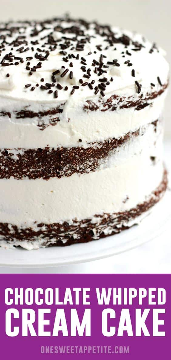 This chocolate whipped cream cake is the perfect way to celebrate any occasion. Light chocolate cake is layered between a sweet whipped cream for the perfect cake recipe.