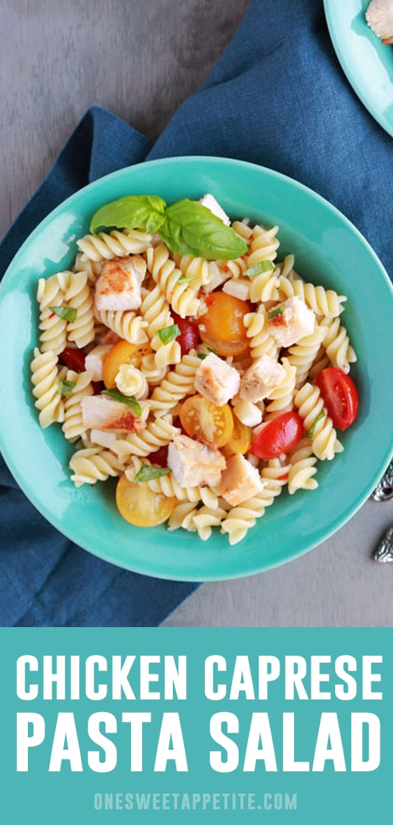 Chicken Caprese Pasta Salad is one of my favorite cold pasta salad dishes! Grilled chicken and colorful vegetables are tossed with pasta to create a tasty dish perfect for any occasion.