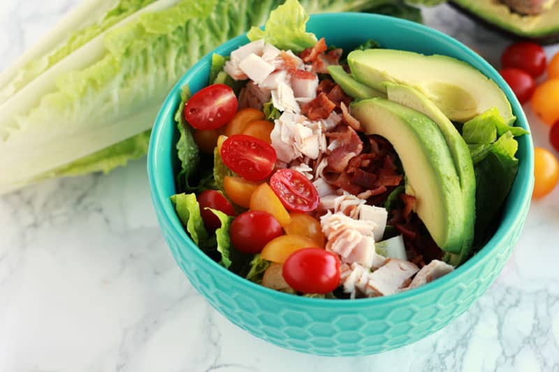 Turkey Bacon Avocado Salad on One Sweet Appetite