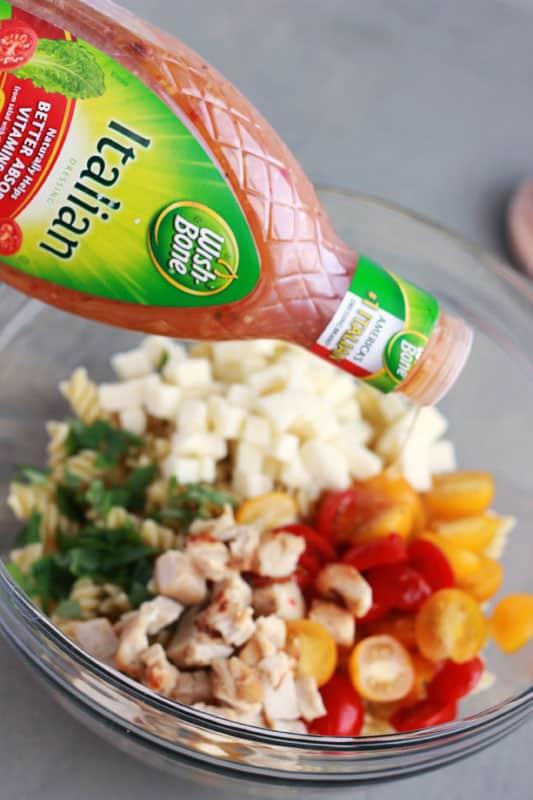 How to make Chicken Caprese Pasta Salad