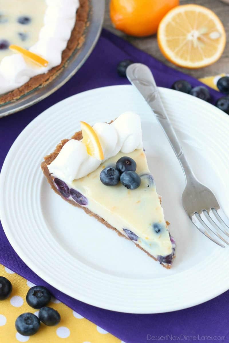 Creamy Lemon and Blueberry Pie 2 WM
