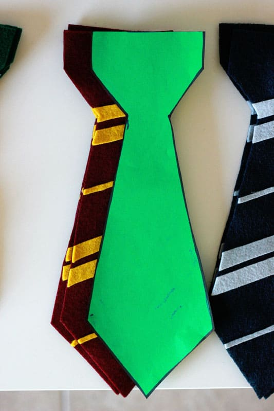 Felt harry potter ties and house flags one sweet appetite for Harry potter tie template