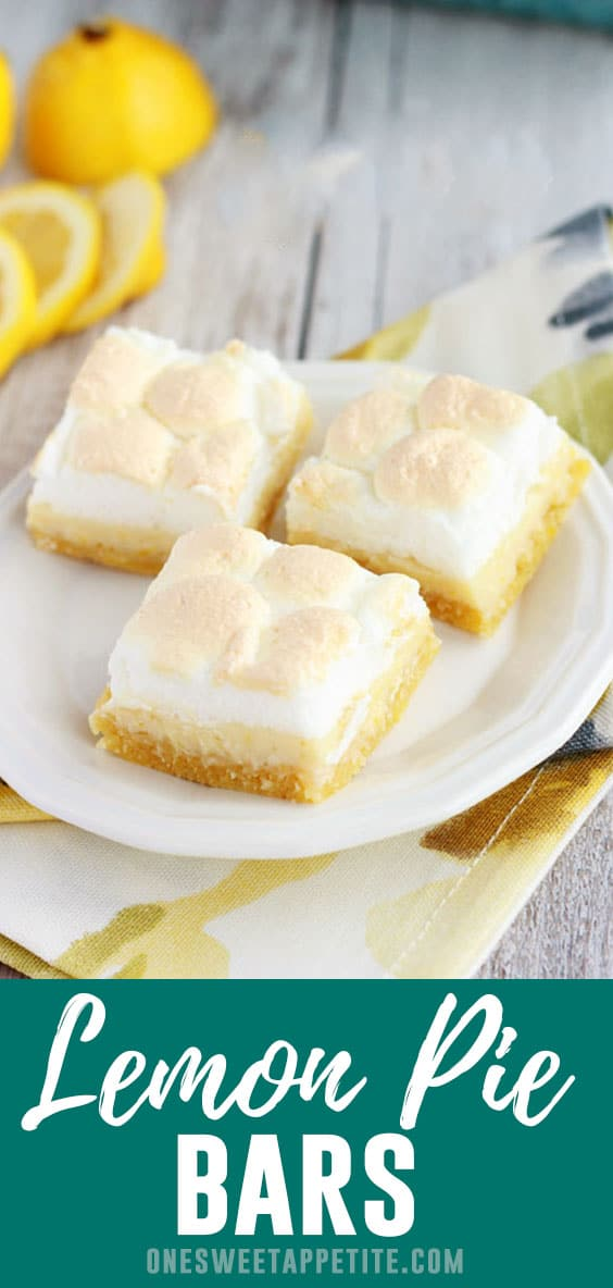 These lemon pie bars are topped with a sweet meringue topping giving them the perfect combination of tart and sweet!