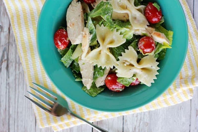 Caesar pasta salad on One Sweet Appetite
