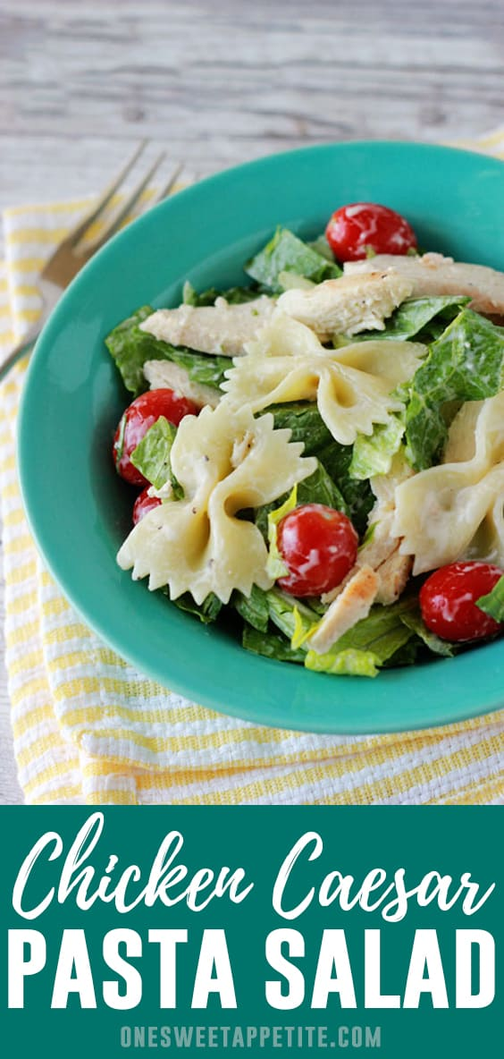 Chicken Caesar Pasta Salad. Grilled chicken is tossed with Caesar dressing, cooked pasta, beautiful cherry tomatoes, and Parmesan cheese for a lite weekday meal!