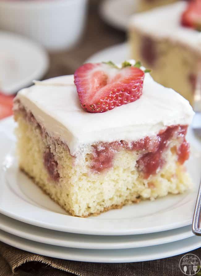 strawberries and cream poke cake 8