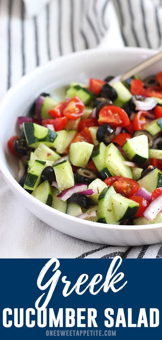 This cool cucumber salad is tossed in a quick Greek seasoned dressing making it a quick side dish recipe! Ready in under ten minutes and one of our favorite light side dish recipes!