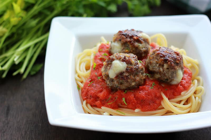 Mozzarella Stuffed Meatballs on One Sweet Appetite