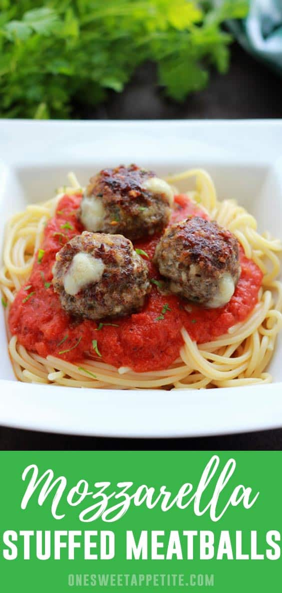 These easy mozzarella stuffed meatballs are my go-to for a quick meal! Freezer friendly and stuffed with cheese, you can't ask for much more!
