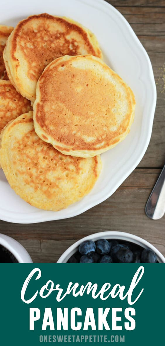 These Cornmeal Pancakes are a refreshing twist on the classic breakfast food! Any cornbread fans need to add these to your must-make list asap!