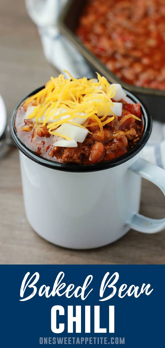 This easy baked bean chili recipe comes together quickly and is only SIX ingredients! Hearty, filling, and a fantastic 30 minute dinner recipe!