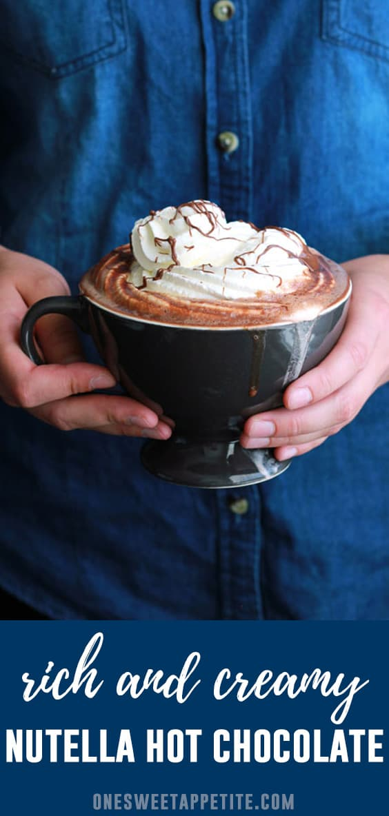 This rich and creamy Nutella Hot Chocolate is ready in under 5 minutes and made with just 3 ingredients!  You will love this decadent drink recipe.
