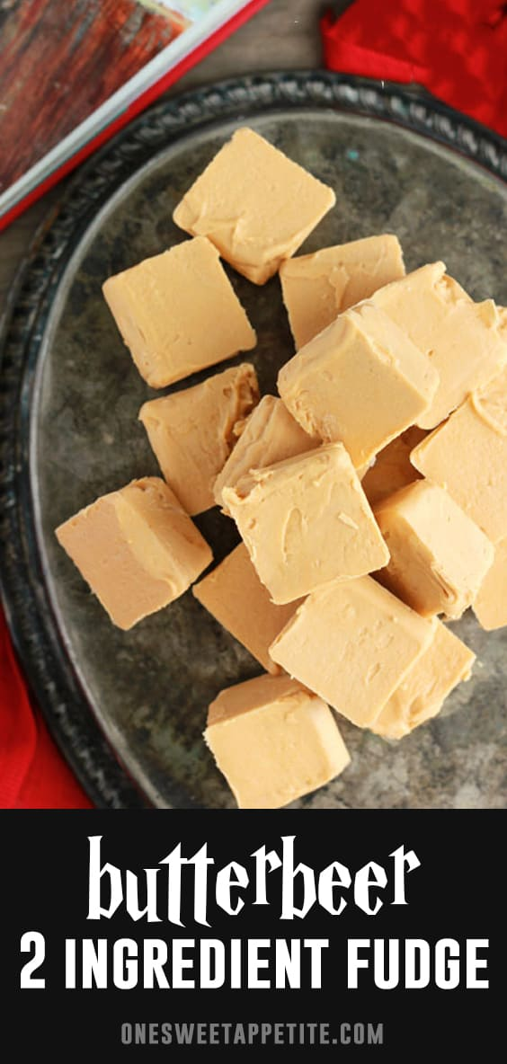 Harry Potter fans rejoice! This easy TWO Ingredient Butterbeer Fudge tastes amazing, is incredibly simple to make, and made in just 5 minutes!