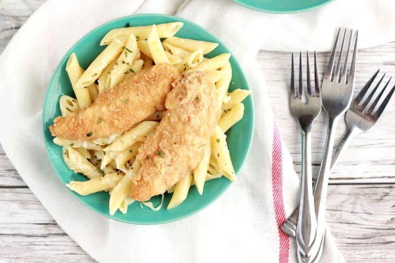 White wine Alfredo recipe with Crispy Chicken