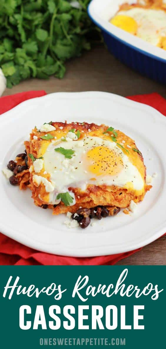 Huevos Rancheros Casserole. Black beans, enchilada sauce, crumbled queso fresco, and fresh cracked eggs combine in this delicious breakfast recipe!