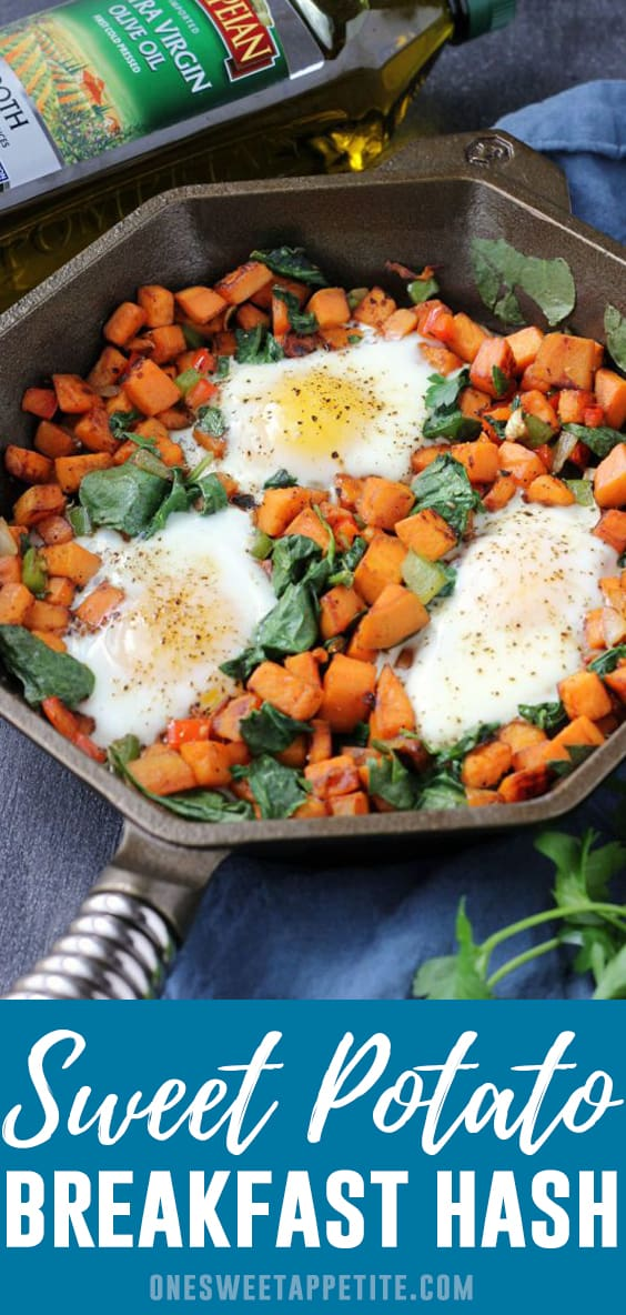 This delicious sweet potato hash recipe is a quick and easy breakfast recipe. Made with sweet potatoes, spices, and eggs for an extra filling and tasty meal.