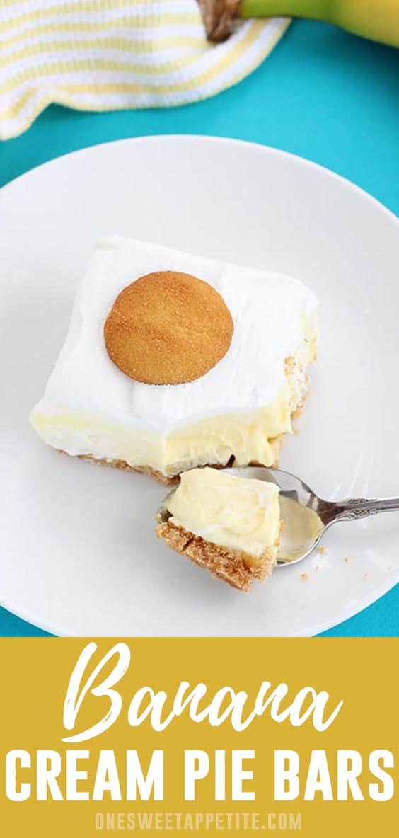 Banana Cream Pie Bars. Fresh sliced bananas are placed on a vanilla wafer cookie crust and topped with vanilla pudding for a super simple and delicious dessert recipe.